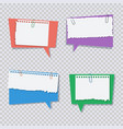 colored speech bubble with white torn paper pieces vector image vector image