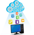 desktop cloud computing vector image vector image