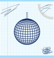 disco ball line sketch icon isolated on white vector image