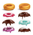 donut toppings realistic set vector image