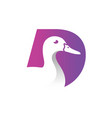 duck logo with letter d vector image vector image