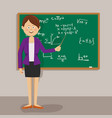 female teacher with pointer next to blackboard vector image vector image