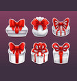 gift boxes with red bows vector image vector image