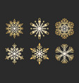 golden snowflakes set christmas flat snow crystal vector image vector image