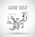 Good idea happy creative couple team black and vector image