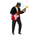 jazz guitarist in hat with musical instrument vector image vector image