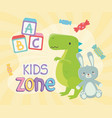 kids zone green dinosaur and cute rabbit toys vector image