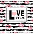 Love me Pink lips kisses prints background vector image