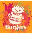 man eating burgers vector image