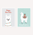 merry christmas greeting posters set cute llama vector image vector image