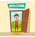 Open door Welcome Cartoon vector image vector image