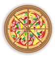 pizza cut on a wooden board vector image vector image