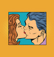 poster man and woman kissing vector image vector image