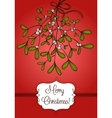 Red Christmas card with branch of mistletoe vector image
