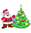 Santa decorating Christmas tree 2 vector image