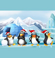 scene with penguins with christmas hat vector image
