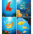 Sea animals living under the ocean vector image vector image