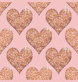 seamless pattern with rose gold hearts pink vector image vector image
