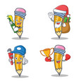 set of pencil character with beer gift plumber vector image vector image