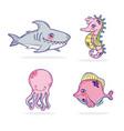 set of sea animals cartoons vector image vector image