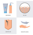 skin problems and treatment icon set in flat style vector image vector image