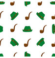 smoking pipe and green hat seamless pattern vector image vector image