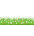 spring background with grass and flowers border on vector image vector image