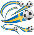 sweden flag set with soccer ball vector image vector image