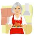 Sweet grandmother cooking thanksgiving turkey vector image vector image