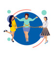 thin friends help a woman to lose weight in vector image vector image