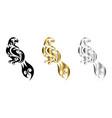 three color black gold silver line art eagle vector image vector image
