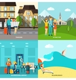 Tourism 4 flat icons square banner vector image vector image