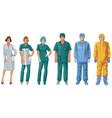 uniforms doctors and nurses protective suit vector image