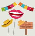 white background with festoon and hat and mouth vector image vector image