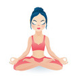 meditating yoga girl sitting in lotus pose vector image