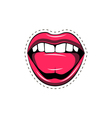Pink lips tongue pop art retro poster element vector image