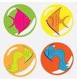 monochrome icon set with fish vector image