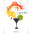 Abstract color cocktail with wave and drops vector image vector image