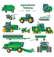 Agricultural Vehicles Flat Icons Set vector image