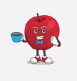 apple cartoon mascot character with a cup vector image vector image