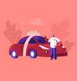automobile purchase concept man buyer or seller vector image