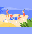 beach cleaning cleansing polluted planet ecology vector image vector image