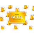 beer poster with lager beer mugs pattern vector image vector image