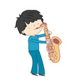 boy playing saxophone isolated on white vector image vector image