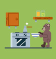 brown bear prepares a coffee vector image vector image