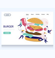 burger website landing page design template vector image