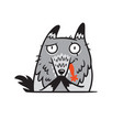 cartoon grey wolf eating red cap vector image