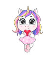 cartoon unicorn in dress holding heart vector image vector image
