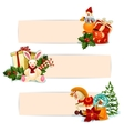 Christmas gift holly and toy banner set design vector image