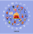 circus cartoon round composition vector image
